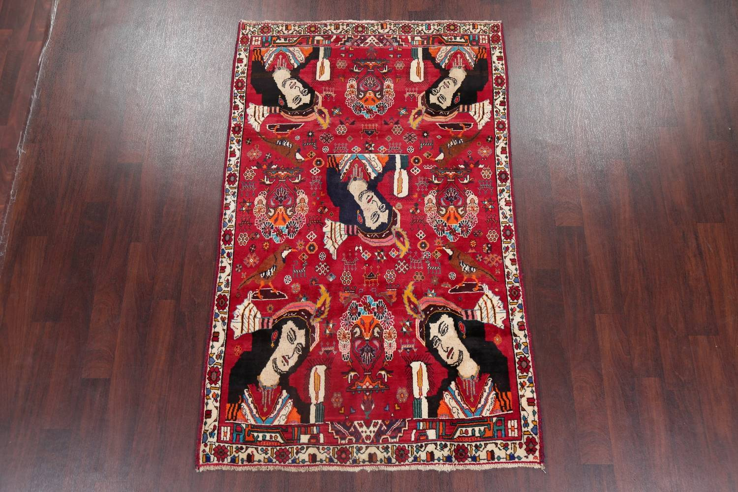 Vintage Red Pictorial Shiraz Persian Wool Rug 4x7 image 2