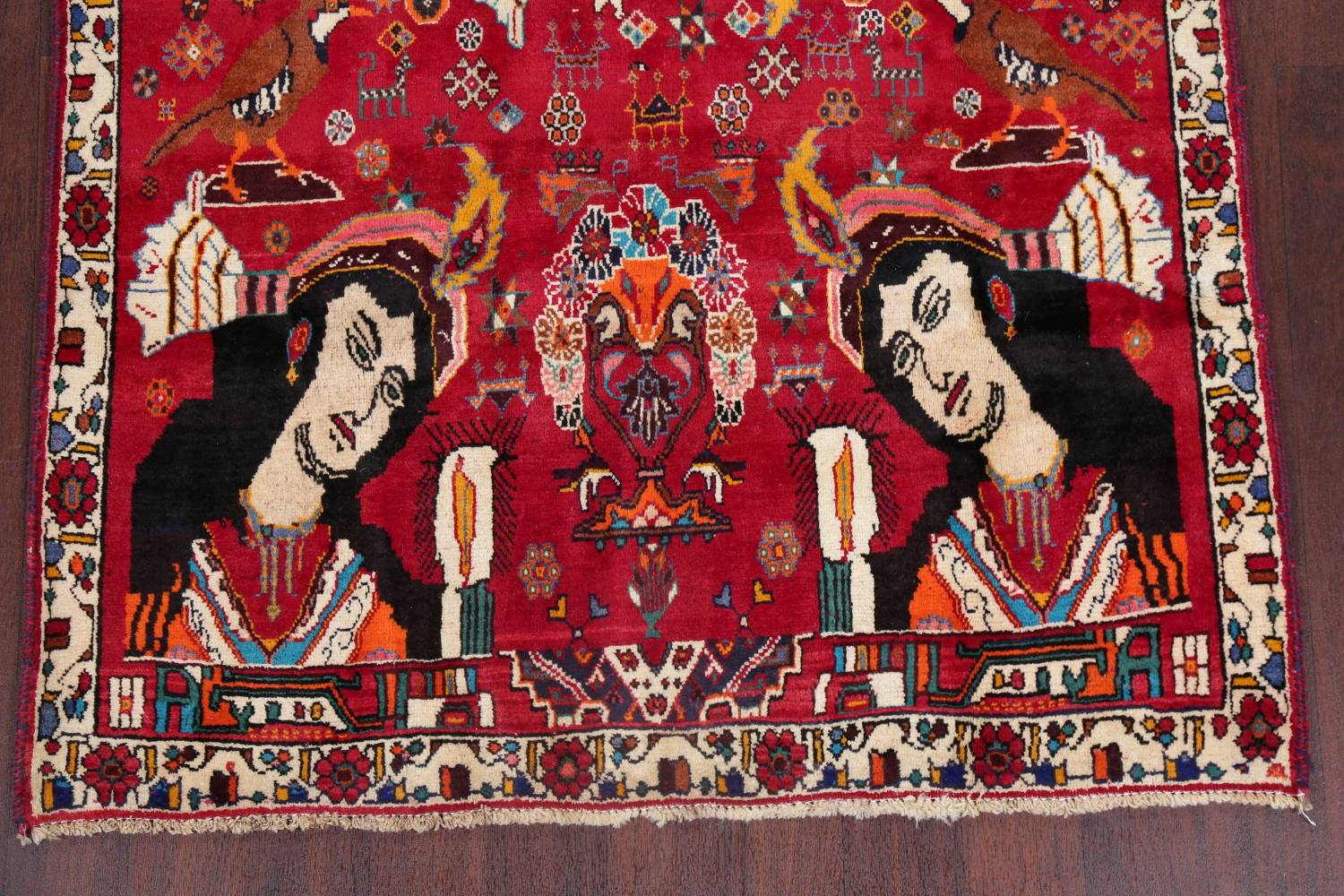 Vintage Red Pictorial Shiraz Persian Wool Rug 4x7 image 8