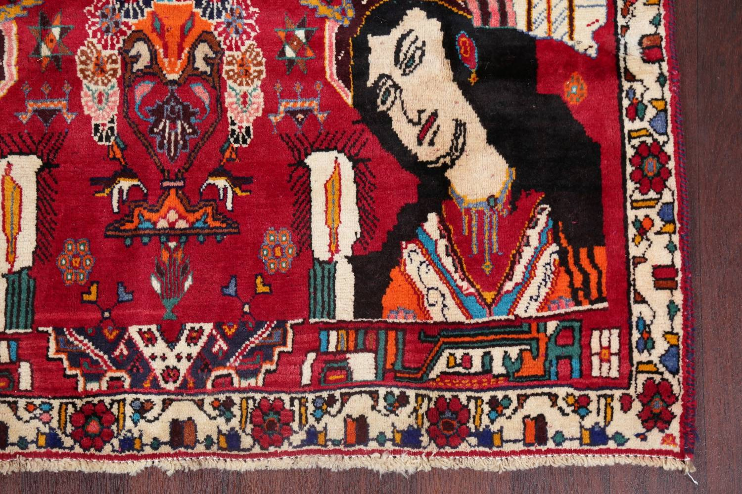 Vintage Red Pictorial Shiraz Persian Wool Rug 4x7 image 5