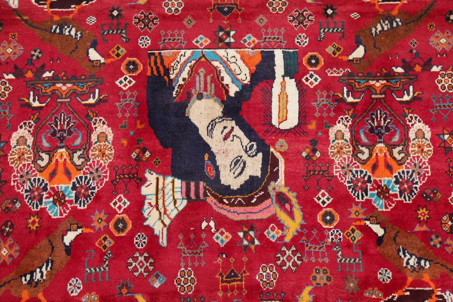 Vintage Red Pictorial Shiraz Persian Wool Rug 4x7 image 4