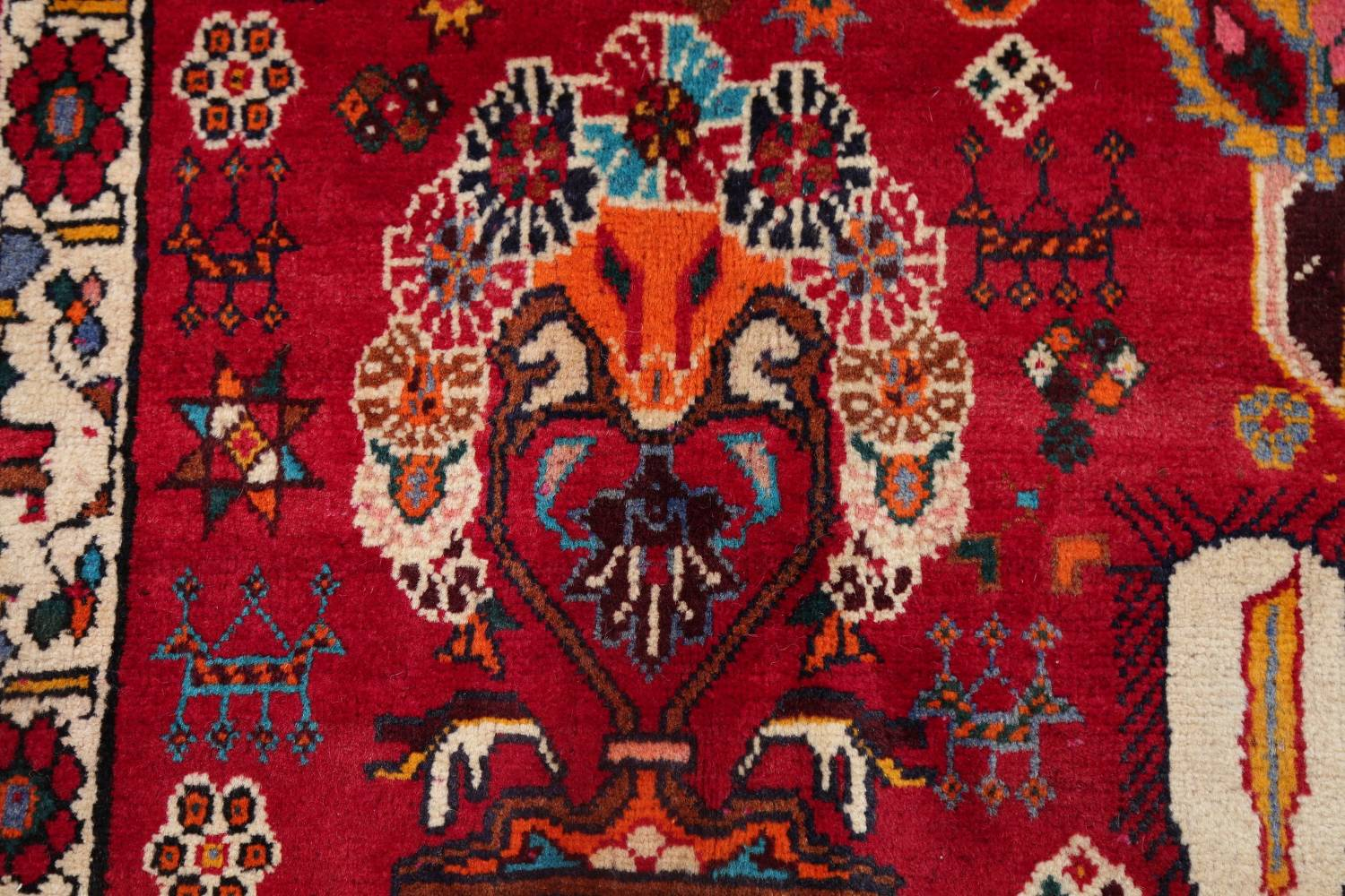 Vintage Red Pictorial Shiraz Persian Wool Rug 4x7 image 11