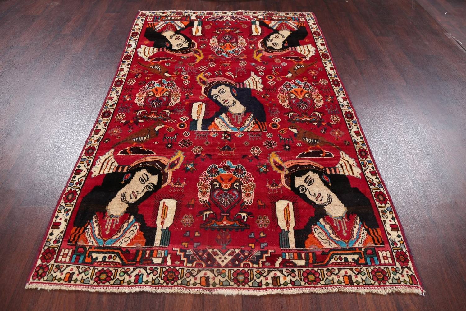 Vintage Red Pictorial Shiraz Persian Wool Rug 4x7 image 17