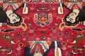 Vintage Red Pictorial Shiraz Persian Wool Rug 4x7 image 14