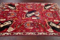 Vintage Red Pictorial Shiraz Persian Wool Rug 4x7 image 16