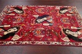 Vintage Red Pictorial Shiraz Persian Wool Rug 4x7 image 13