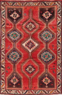 Vintage Geometric Red Shiraz Persian Area Rug 6x8