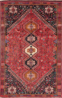 Vintage Tribal Red Abadeh Nafar Persian Wool Rug 5x9