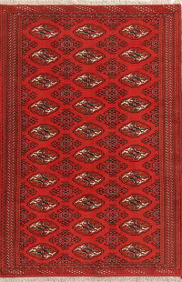 Geometric Red Balouch Afghan Wool Area Rug 5x8