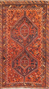 Vintage Orange Tribal Shiraz Persian Wool Rug 4x7