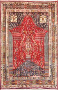Vintage Red Tribal Kashkoli Persian Area Rug 5x8