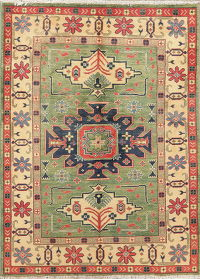 Green Super Kazak-Chechen Oriental Wool Rug 4x5