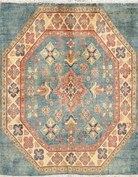 Super Kazak-Chechen Oriental Wool Rug 5x5 Square