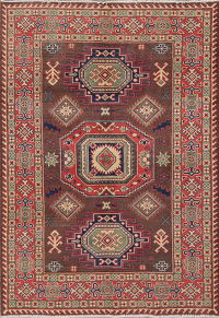 Brown Super Kazak-Chechen Oriental Wool Rug 4x6