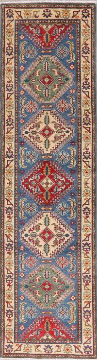 Blue Super Kazak Oriental Wool Runner Rug 3x10