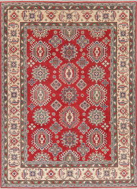 Geometric Red Super Kazak Oriental Wool Rug 6x9