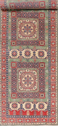 Green Super Kazak Oriental Wool Runner Rug 5x20