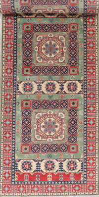 Green Super Kazak Pakistan Wool Runner Rug 5x19