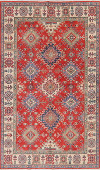 Geometric Red Super Kazak Oriental Wool Rug 6x8