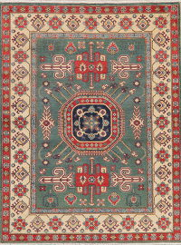 Green Super Kazak Oriental Wool Rug 5x7