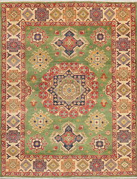 Green Geometric Kazak Pakistan Wool Rug 5x7