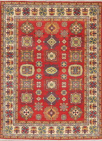 Geometric Red Kazak Pakistan Wool Rug 5x7