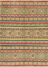 Multi-Color Geometric Kazak Pakistan Wool Rug 5x7