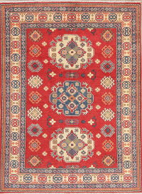 Red Super Kazak-Chechen Oriental Wool Rug 5x7