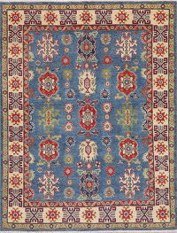 Blue Super Kazak-Chechen Oriental Wool Rug 5x7