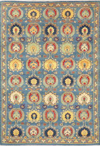 Super Kazak-Chechen Oriental Wool Area Rug 7x10