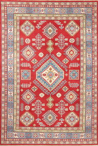 Red Super Kazak-Chechen Oriental Wool Rug 6x10