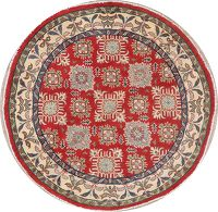 Geometric Red Super Kazak Pakistan Wool Rug 5x5 Round