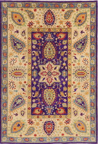 Purple Floral Super Kazak Oriental Wool Rug 7x10