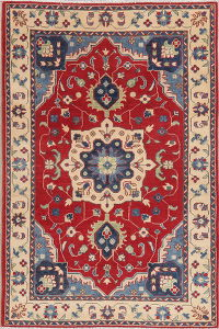 Red Floral Super Kazak Oriental Wool Rug 4x6