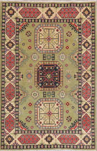 Green Super Kazak-Chechen Oriental Wool Rug 4x6