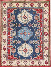 Navy Blue Super Kazak-Chechen Oriental Wool Rug 5x7