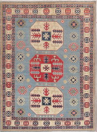 Light Blue Super Kazak-Chechen Oriental Wool Rug 5x7