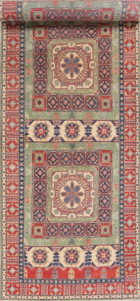 Super Kazak-Chechen Oriental Wool Runner Rug 5x21