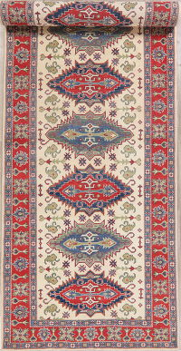 Super Kazak-Chechen Oriental Wool Runner Rug 5x19