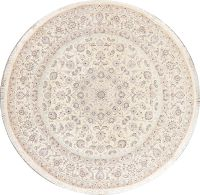 Floral Ivory Nain Persian Wool/Silk 8 ft Round Rug