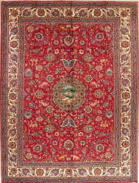 Animal Pictorial Red Tabriz Persian Wool Area Rug 10x13