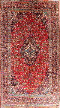 Traditional Floral Red Kashan Persian Wool Rug 10x18