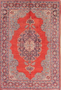 Geometric Red Mahal Persian Wool Rug 7x11