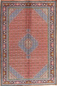 Geometric Red Ardebil Persian Wool Area Rug 7x10