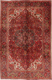 Geometric Red Heriz Persian Wool Area Rug 7x10