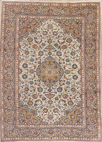 Traditional Floral Kashan Persian Wool Area Rug 8x11