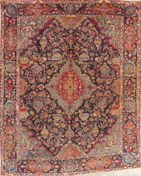 Vintage  Pictorial Kashmar Persian Wool Area Rug 9x12