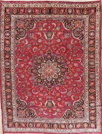 Vintage Floral Red Mashad Persian Wool Area Rug 10x13