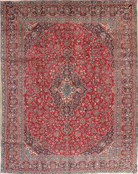 Vintage Red Floral Mashad Persian Wool Area Rug 9x12