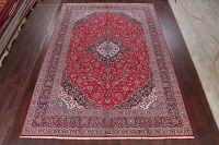 Vintage Red Floral Kashan Persian Wool Area Rug 10x14