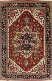 Large Geometric Red Heriz Oriental Rug Wool 12x18